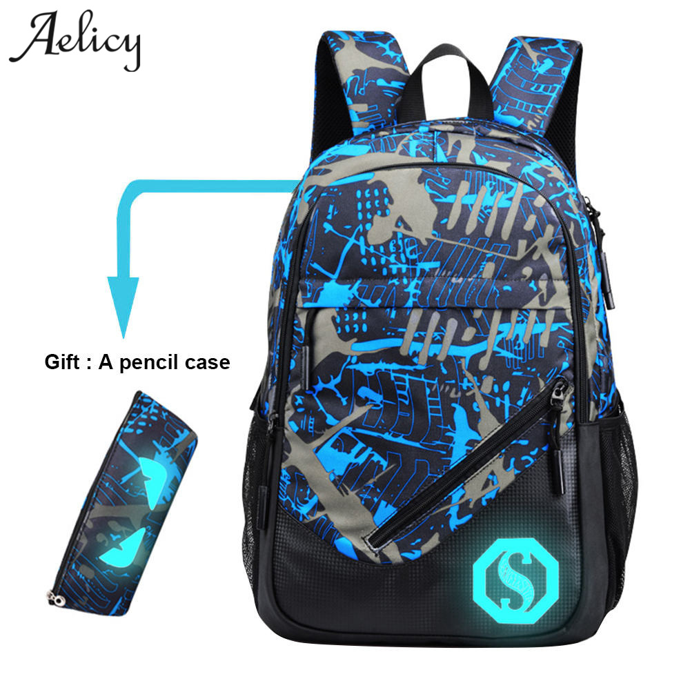 Aelicy Canvas Waterproof Laptop Backpack Men Women Fashion Travel Large Capacity Geometric Canvas Backpack Schoolbag With Gift L