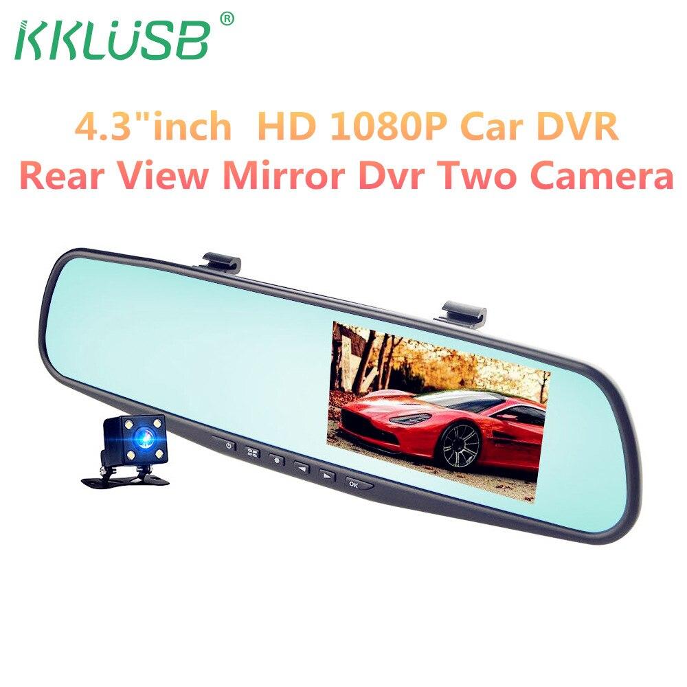 Full HD 1080p автомобиля камера-видеорегистратор Авто 4,3 дюймов зеркало заднего вида цифровой видеомагнитофон Двойной объектив регистрационная видеокамера автоматический DVR