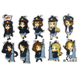 Image 1 - K ON Hirasawa Yui Akiyama Mio Tainaka Ritsu Nakano Azusa Yamanaka Sawako Action Figure Anime Model Rubber Keychain Pendant 6cm