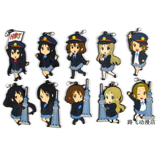 K ON Hirasawa Yui Akiyama Mio Tainaka Ritsu Nakano Azusa Yamanaka Sawako Action Figure Anime Model Rubber Keychain Pendant 6cm