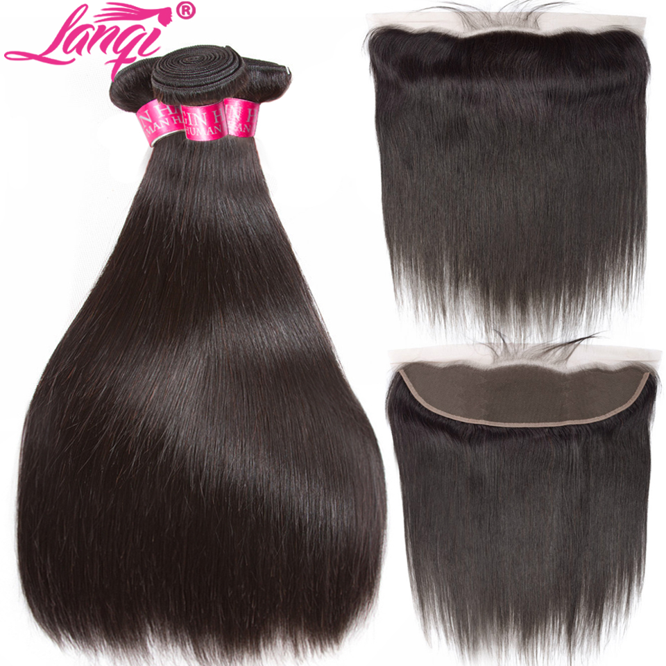 Brazilian Straight Hair Weave Bundles With Frontal With Bundles Non Remy 28 30 32 Inch Human Hair Bundles With Frontal Closure