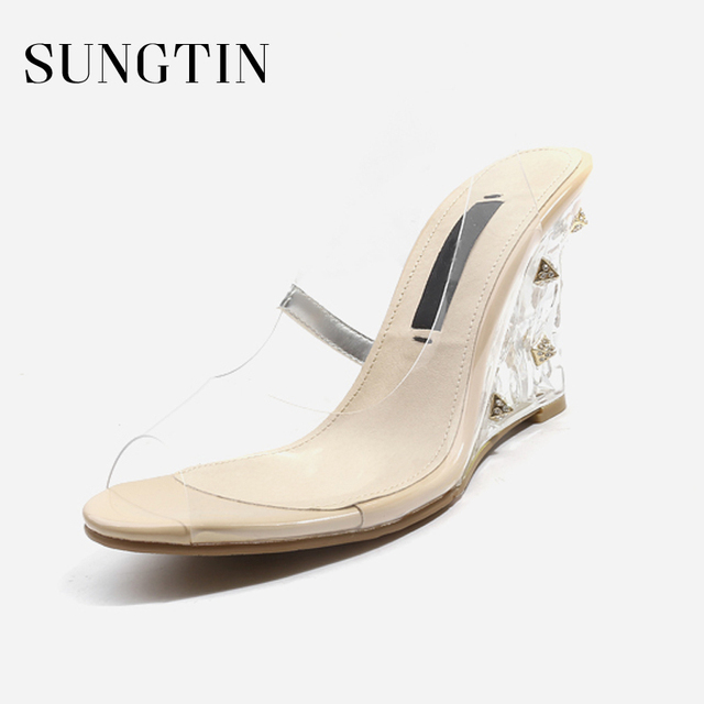 bbf96b0f4034 Sungtin New Fashion Rivet Crystal Wedges Women Summer Sandals Woman PU  Transparent Shoes Ladies Classic High Heel Sandals