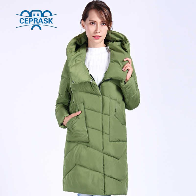 CEPRASK 2019 Новая высокока чественная куртка женская зимняя Плюс Размер Длинная женская толстая парка Хлопок Зимнее пальто с капюшоном теплый пуховик женский