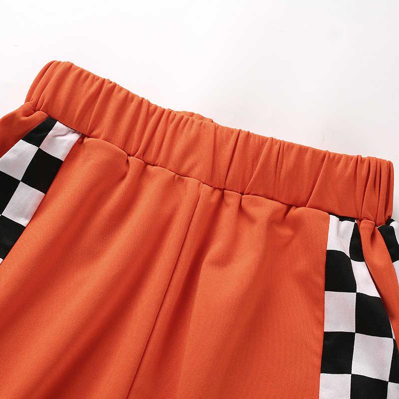 Женские клетчатые брюки клетчатая Высокая талия боковая открытая щелевая молния модные джоггеры шахматные брюки женские PANTACOURT Harajuku красные