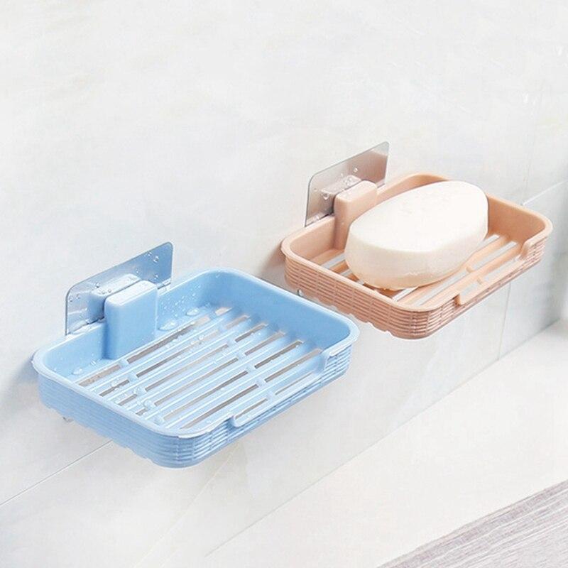 1PCS Punch-Free Soap Box Plastic Drain Holder Bathroom Wall-Mounted Storage Box