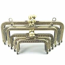 10Pcs Bronze Tone Flowers Convex Rectangle Metal Frame Kiss Clasp Lock Clutch Coins Purse Bag Handbag Handle Accessories