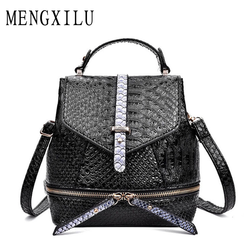 Famous Brand High Quality Aligator Leather Backpacks For Teenage Girls Womens Backpack 2017 Hot Female School Bag Back Packs