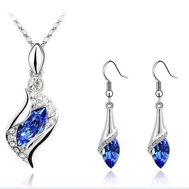 font b Crystal b font jewelry set women girls water drop red earing necklace jewelery