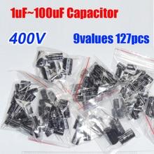 9 значения всего 127 шт. 400 В Алюминий электролитический конденсатор Ассортимент Комплект 1 мкФ-100 мкФ