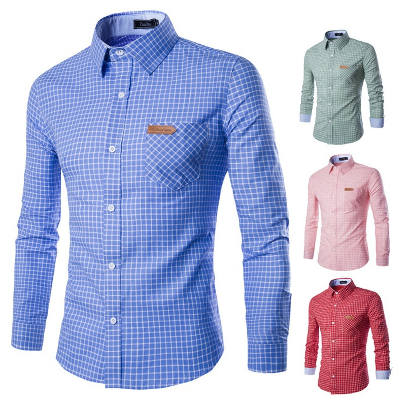 ZOGAA 2019 New Men's Small Grid Stand Collar Long-sleeved Shirt Slim Fit Soft Comfortable Spring Male Brand Casual Dress Shirts