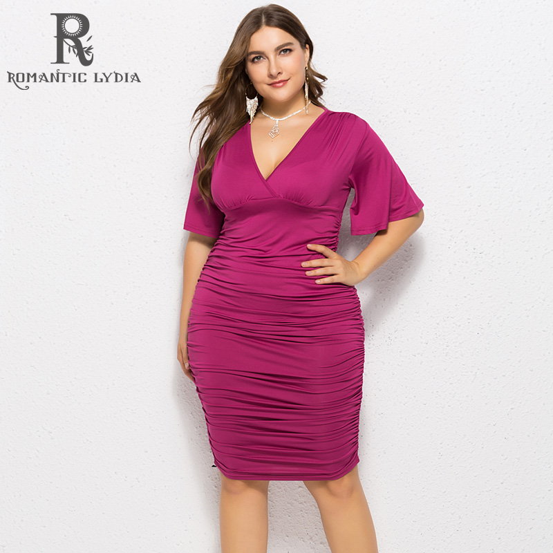 <font><b>Women</b></font> Big Size Midi <font><b>Dresses</b></font> <font><b>2018</b></font> <font><b>Autumn</b></font> <font><b>Sexy</b></font> Half Sleeves <font><b>V</b></font> <font><b>Neck</b></font> <font><b>Bodycon</b></font> Plus Size Pleated Party <font><b>Dress</b></font> Female image