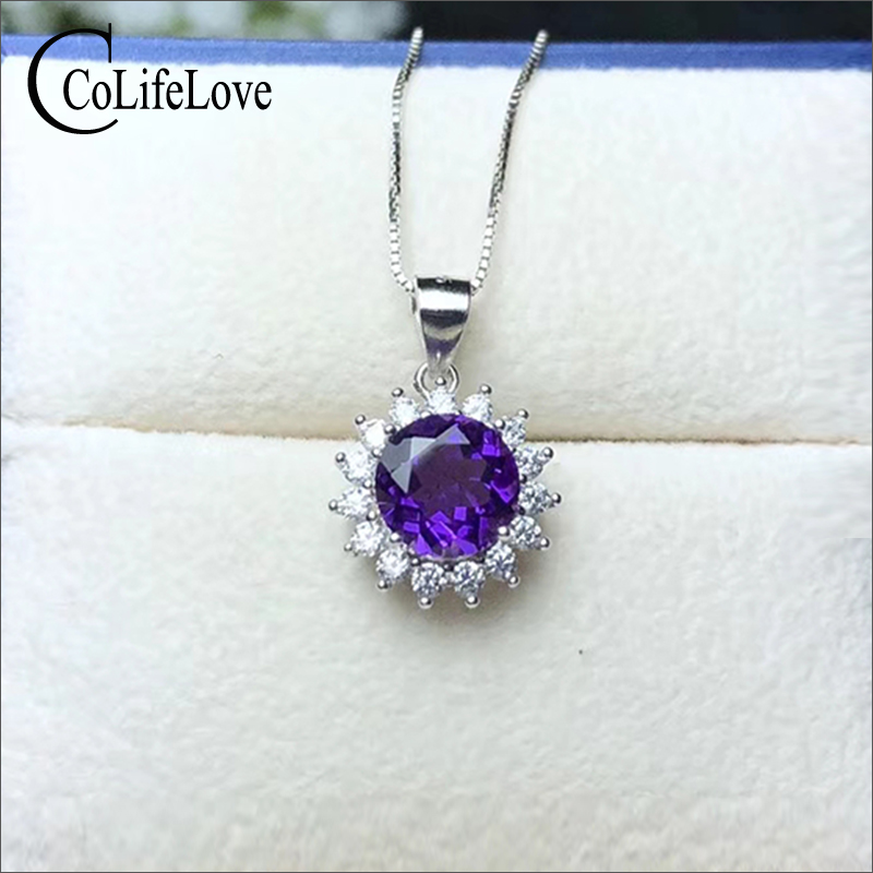 CoLife Jewelry Classic Amethyst Necklace Pendant for Office Woman 7mm Natural Amethyst Pendant Solid 925 Silver Amethyst JewelryCoLife Jewelry Classic Amethyst Necklace Pendant for Office Woman 7mm Natural Amethyst Pendant Solid 925 Silver Amethyst Jewelry