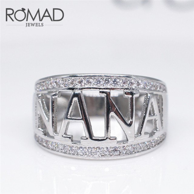 ROMAD Stainless Steel Grandma Birthday Gift Rings For Women Hip Hop Cool Nana Party Granny High Quality Zircon Finger Ring R4