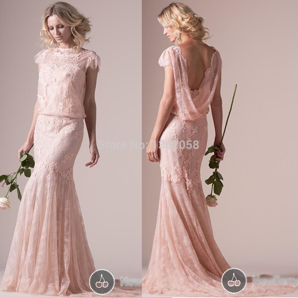 elegante pastell rosa meerjungfrau lange spitze abendkleider mit  kappen-hülsen 2017 reizvolle backless formale anlass kleider