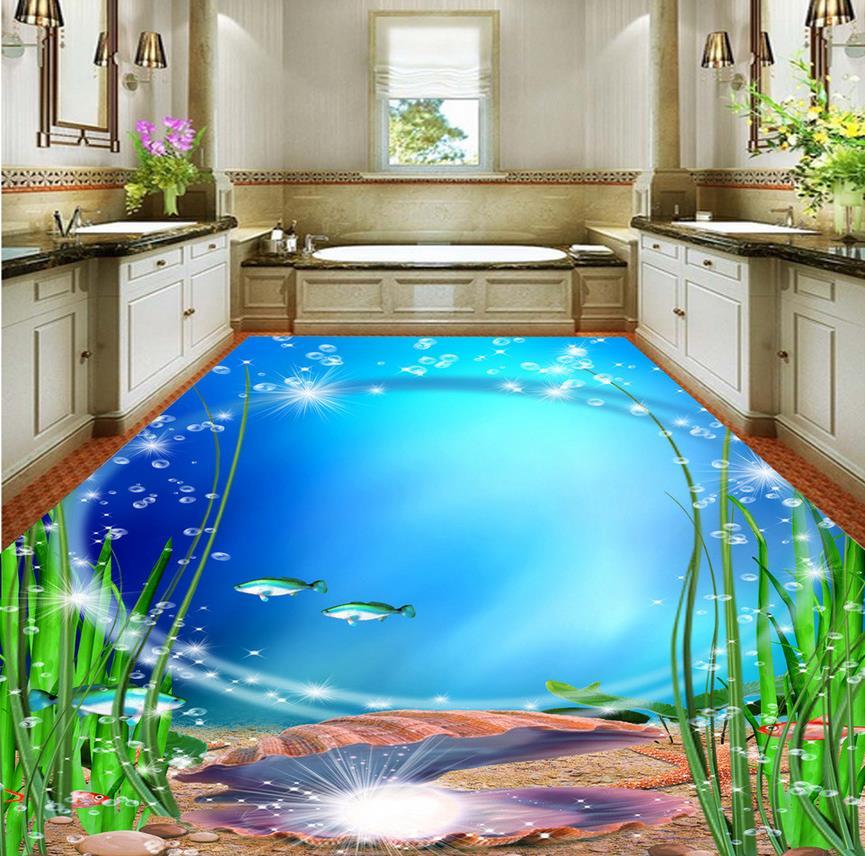3d Bodenbelag Bad Exquisite Ocean Welt 3d Boden Wasserdichte Tapete