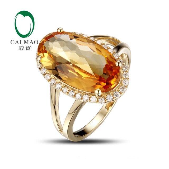 Caimao Ювелирные Изделия 5.03ct Желтый Цитрин Gem Бриллиантовое Обручальное Кольцо Потрясающий