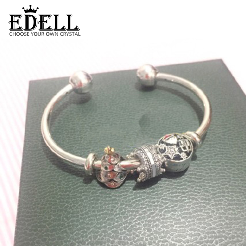 EDELL 100% 925 Sterling Silver Christmas Tree Santa Claus Stars Snowflake Glamour Bracelet Set Holiday Gift Original Jewelry santa claus holiday printed pillow case
