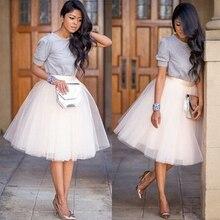 Новая пышная женская шифоновая фатиновая юбка белого и черного цвета, faldas Vestido, высокая талия, миди, длина до колена, шифоновая юбка размера плюс, женские юбки-пачки