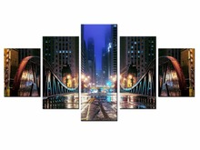 5 pieces / set of bustling city night wall art for decorating home Decorative painting on canvas framed/XC-City-93