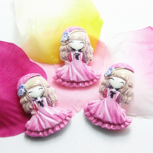 10 шт./лот очень мило смолы для девочек с розовая юбка плоской задней кабошон для DIY ремесло скрапбукинга, RC11082b