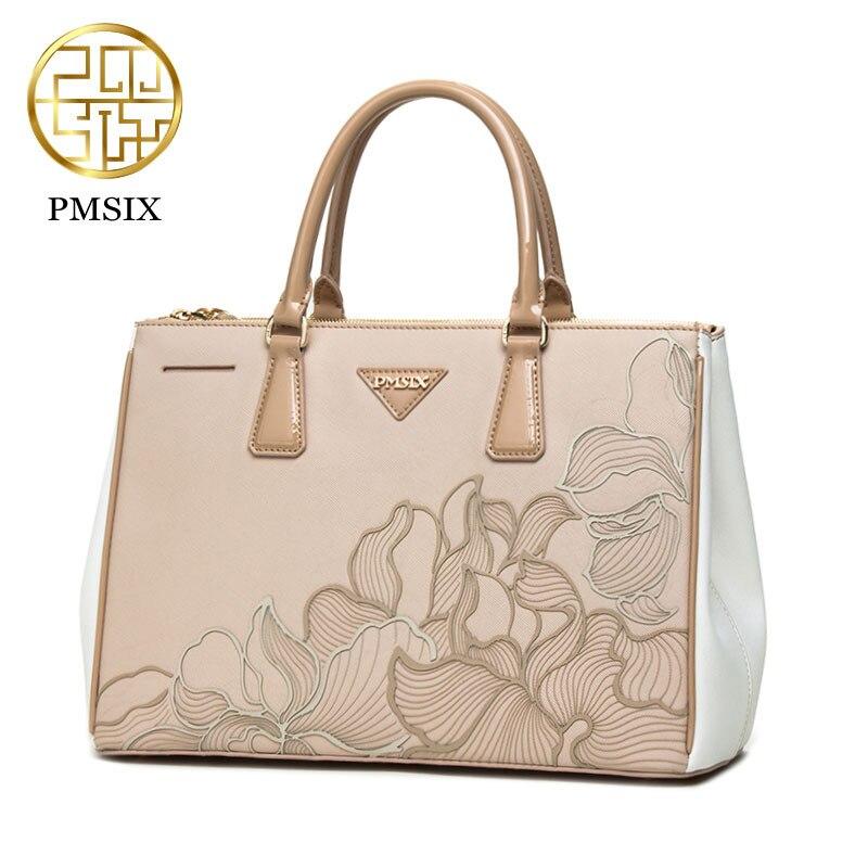Pmsix 2017 Fashion Women Bag Ladies Brand Split Leather Handbags Summer Casual Tote Bag Shoulder Bags bolsas feminina P120011