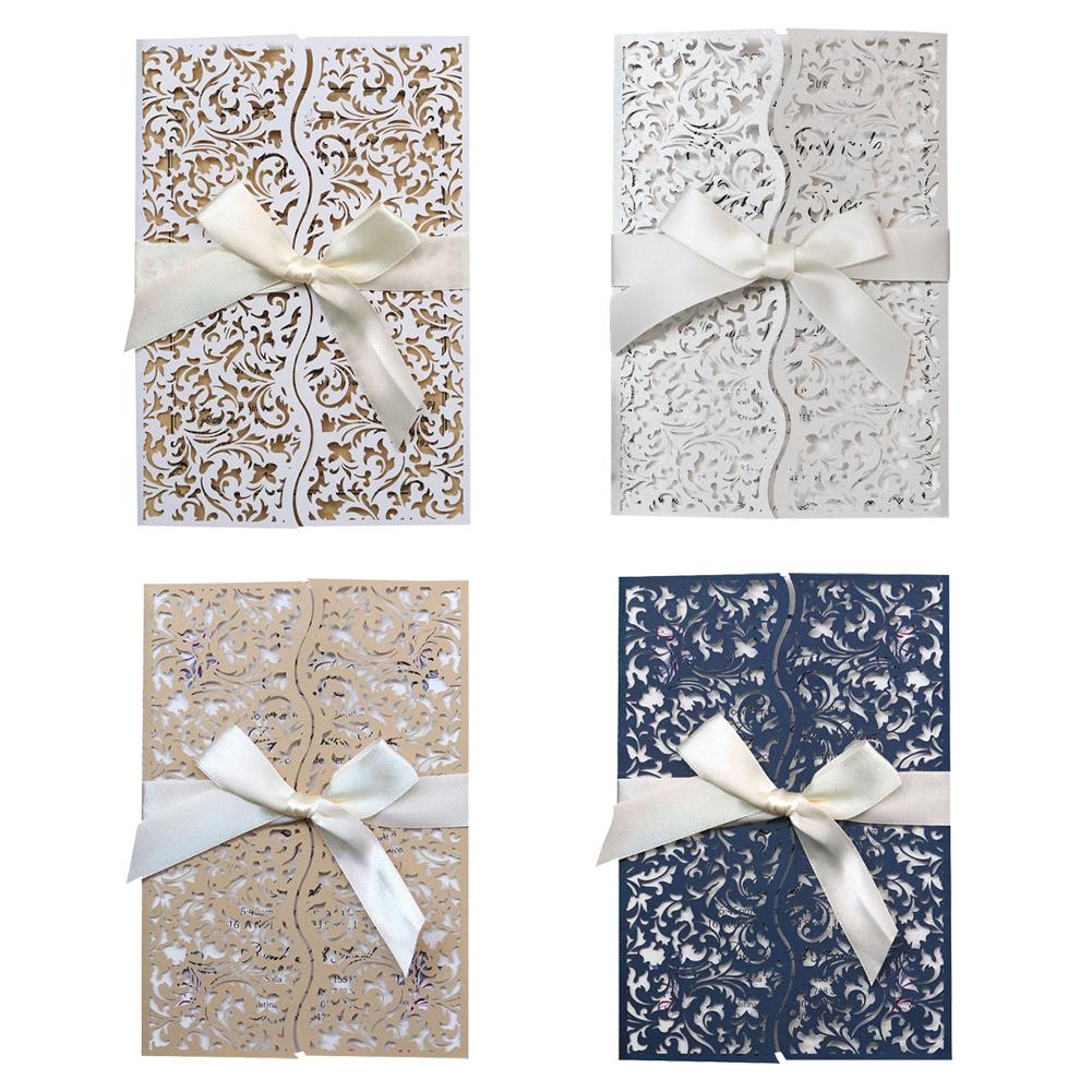 10PCS Party Invitations Infrared Cutout Invitations European Flower Wedding Invitations with Bows in Cards Invitations from Home Garden