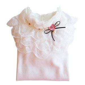 Image 3 - School Girl School Blouse Thermal Underwear For Children Autumn / Winter Long Sleeve Plus Velvet Thick 100% Cotton Lace Princess