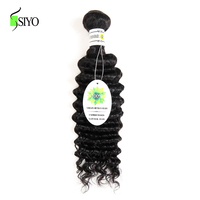 SIYO Brazilian Deep Wave Hair Bundles Human Hair Bundles 1PC Non Remy Hair Weave Double Weft Hair Extensions Can Be Dyed
