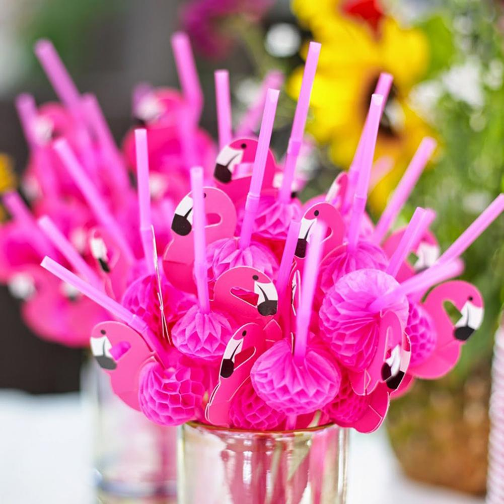 Wedding-Party-Supplies Straw Flamingo-Decoration Hawaiian Cocktail-Drinking Bendable