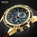 Megir спортивные часы для мужчин Топ бренд класса люкс Хронограф Кварцевые наручные часы силиконовый Браслет Военный Relogio Masculino часы 2045