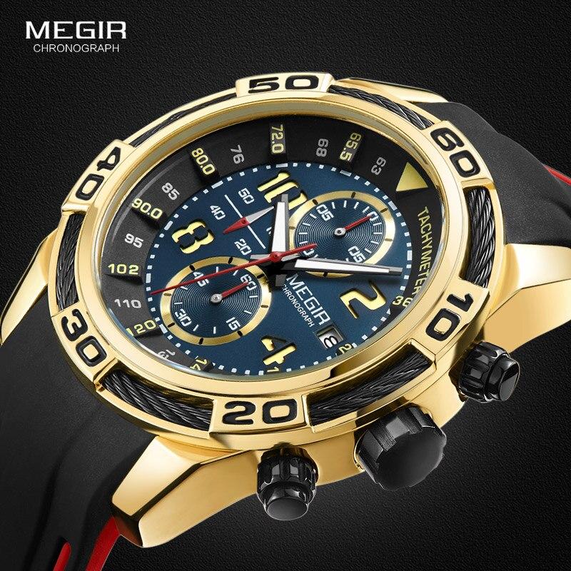 Megir Men's Chronograph Analogue Quartz Watches Wateproof Luminous Hands Rubber Strap Sport Wristwatch for Boys 2045GDBK