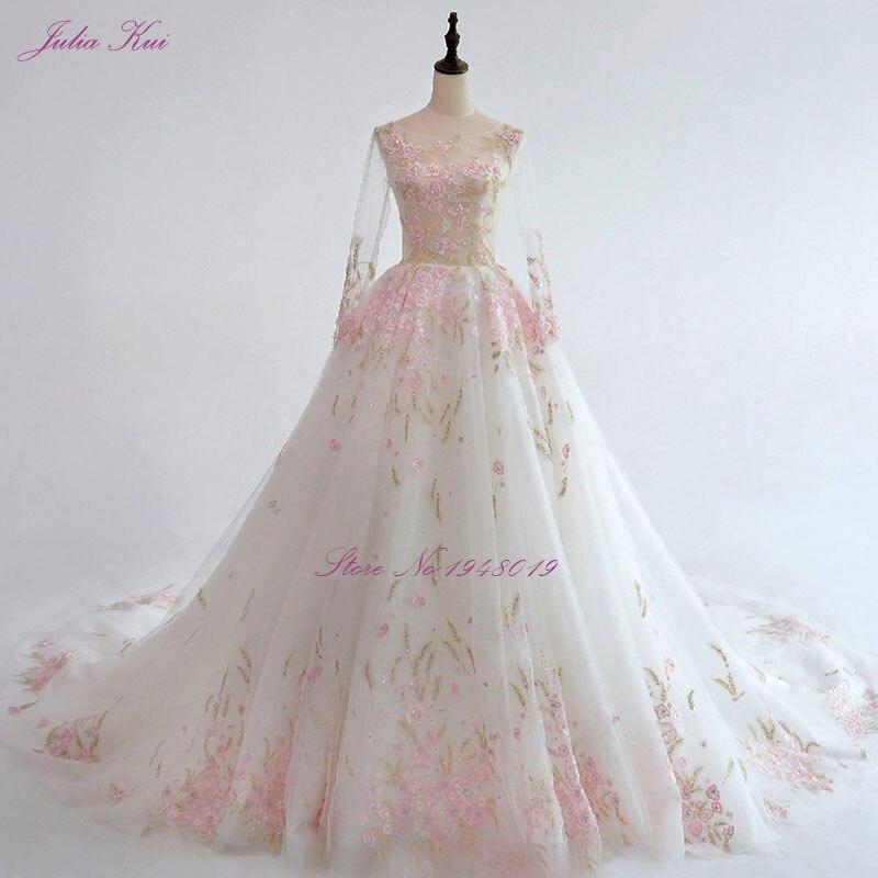 Julia Kui New Arrival A-line Floral Print Wedding Dress Full Sleeve Unique Pink Embroidery Lace Chapel Train Vestido De Noiva