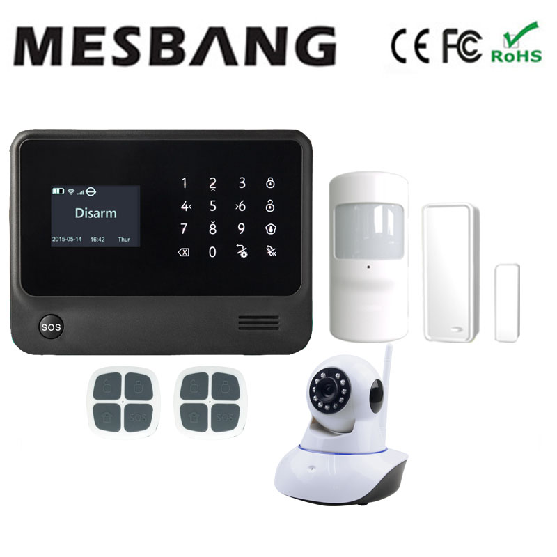 smart home wifi GSM GPRS burgar security alarm system wifi IP camera with English, French,Russian,Spanish,Dutch free shipping