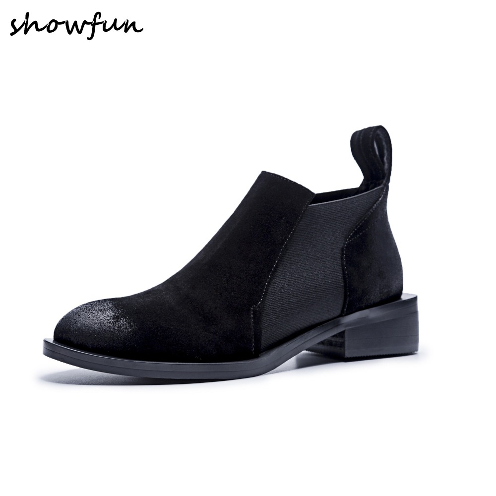Size 34-40 Women's Genuine Suede Leather Gradient Color Slip-on Flats Ankle Boots Brand Designer Leisure Short Booties Shoes Hot