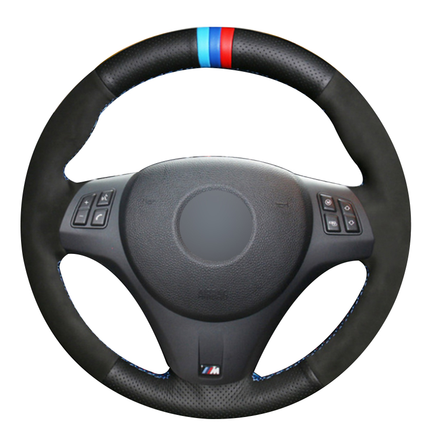 Black Natural Leather Black Suede Light Blue Blue Red Marker Car Steering Wheel Cover for BMW