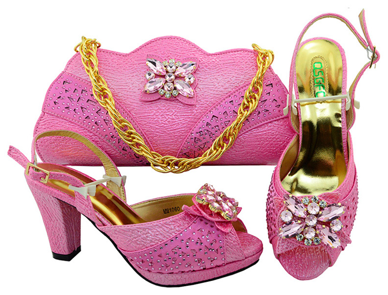 Sweet pink design shoes and bag matching set women with many big diamond flowers on SB8109-4 fashion high quality shoes bag set sweet women s tote bag with metallic and bowknot design