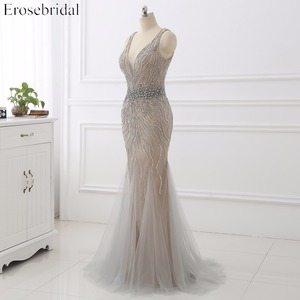 Image 3 - Erosebridal Meerjungfrau Abendkleid Lange 2020 Licht Grau Perlen Luxus Lange Formale Kleid mit Zug Open Back Lange Abendkleid