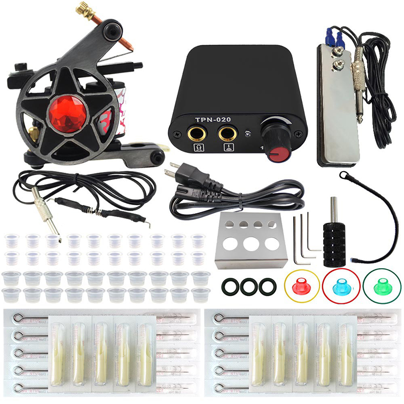 Complete profession Tattoo kits 10 wrap coils 1 guns machine sets power supply disposable needle clip cord 100pcs box zhongyan taihe acupuncture needle disposable needle beauty massage needle with tube