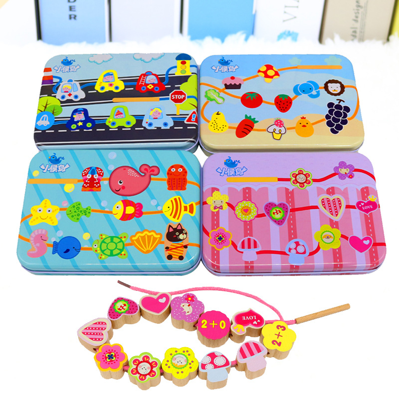 Wooden Toys Beads DIY Toys For Children String Beads Make Up Puzzle Toys Building Kit Educational Montessori gift children s early childhood educational toys the bear change clothes play toys creative wooden jigsaw puzzle girls toys