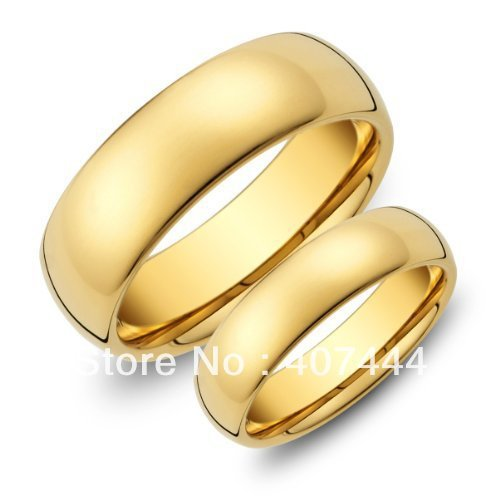 YGK 6mm/8mm Golden Dome Tungsten Ring Mens Wedding Band