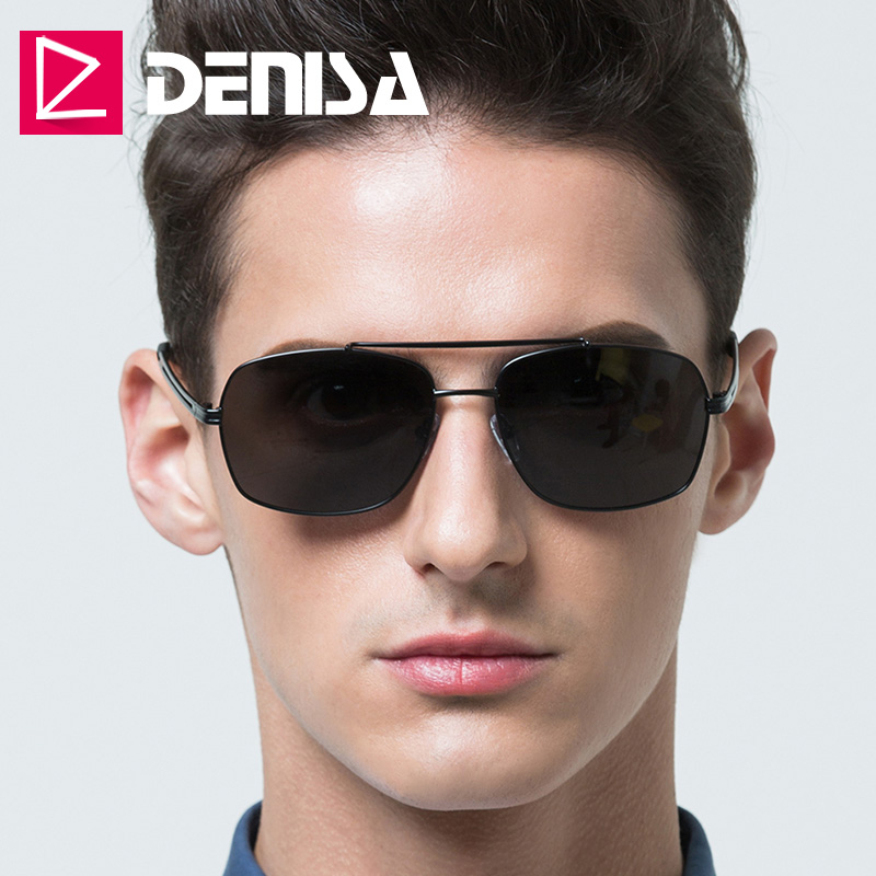 DENISA 100% UV400 Anti-Reflective Polarized Sunglasses Men 2019 New Square Sunglasses Male Policier Lunettes De Soleil G1914