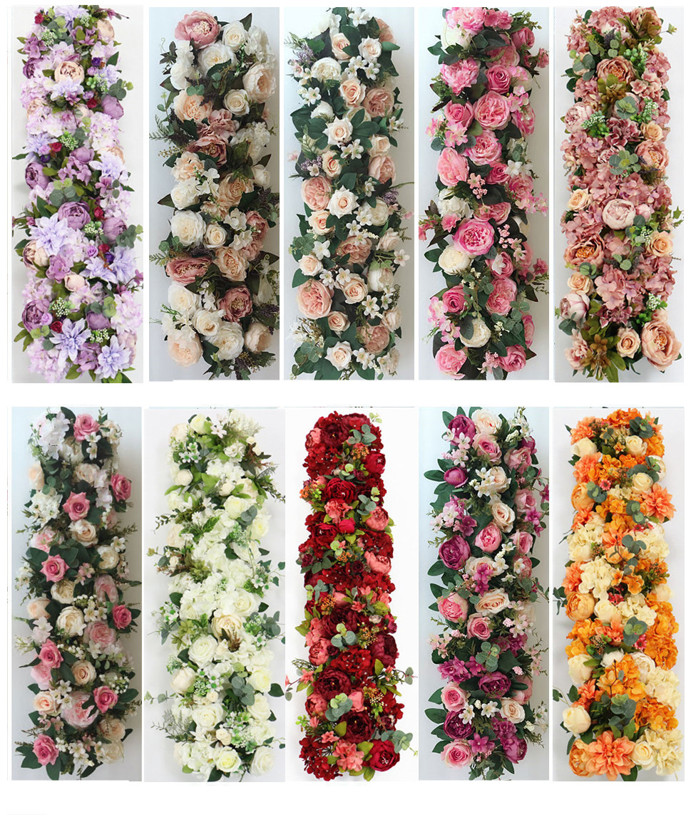 Image 3 - 2pcs/lot 1M Road cited artificial flowers row wedding decor flower wall arched door shop Flower Row Window T station  Christmas-in Artificial & Dried Flowers from Home & Garden