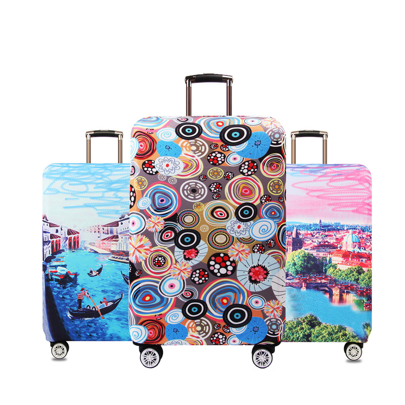 Thicker Stretch Fabric Illustrations Suitcase Cover Protector Dust Luggage Protective Covers Travel Accessories,18 To 32 Inches