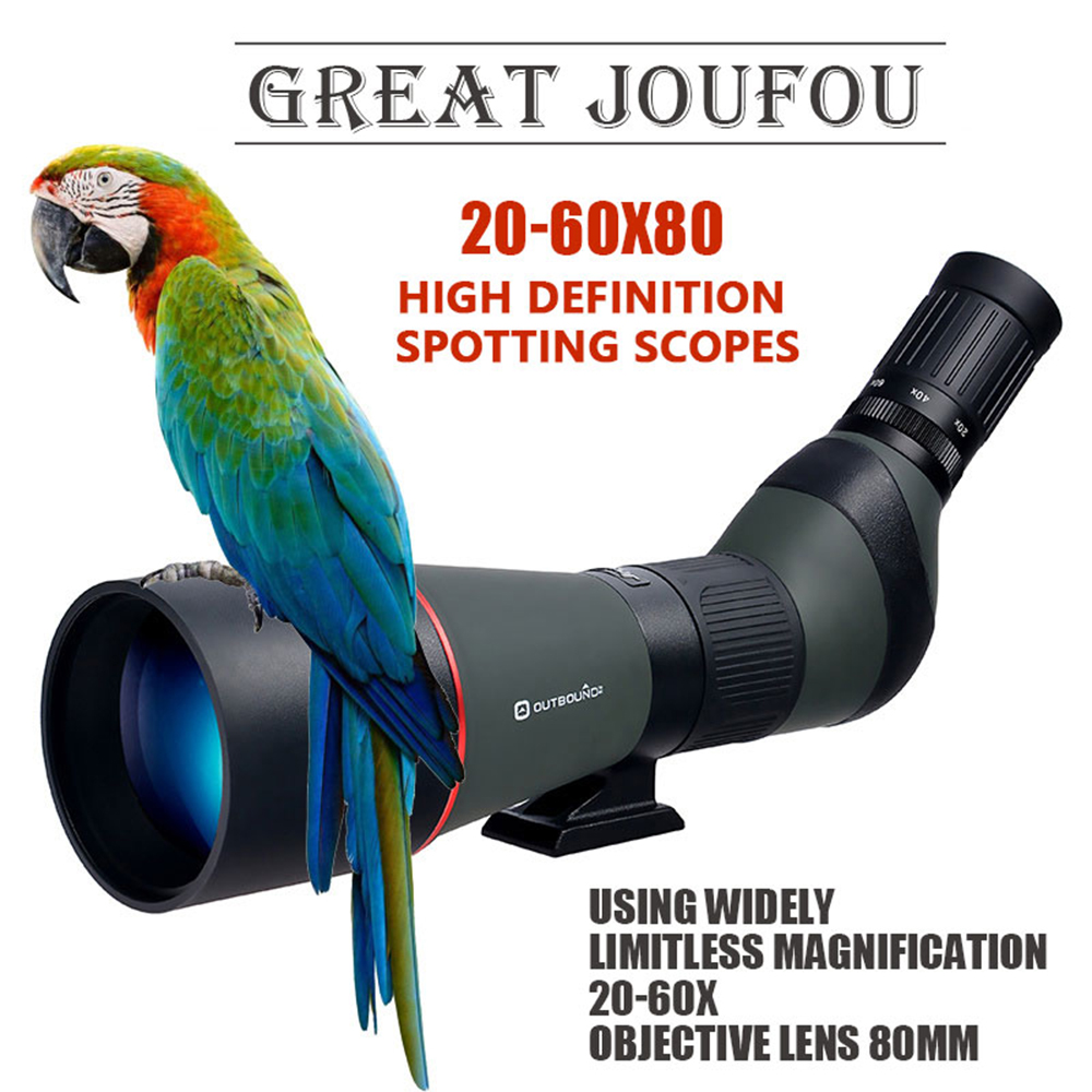 Hunting JOUFOU 20-60X80 Zoom High Quality Precision Spotting Scope Telescope Tripod DHL Free Shipping brand gomu 20 60x60 hd zoom high quality precision spotting scope telescope tripod connection mobile phone adapter bird watchin