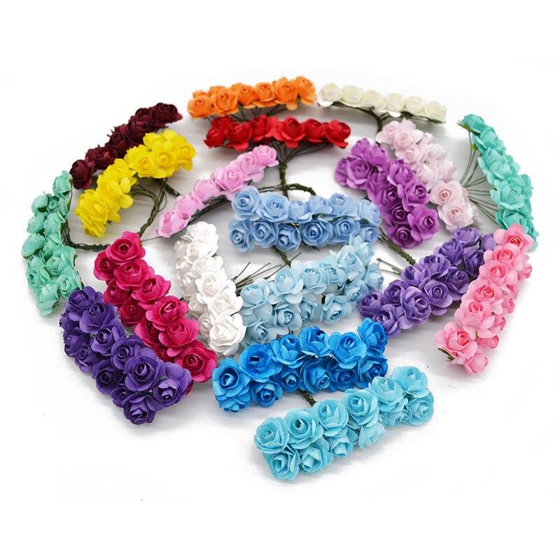144Pcs/lot 2cm Diameter Min Artificial Paper Rose Flower Head For Wedding Decoration DIY ...