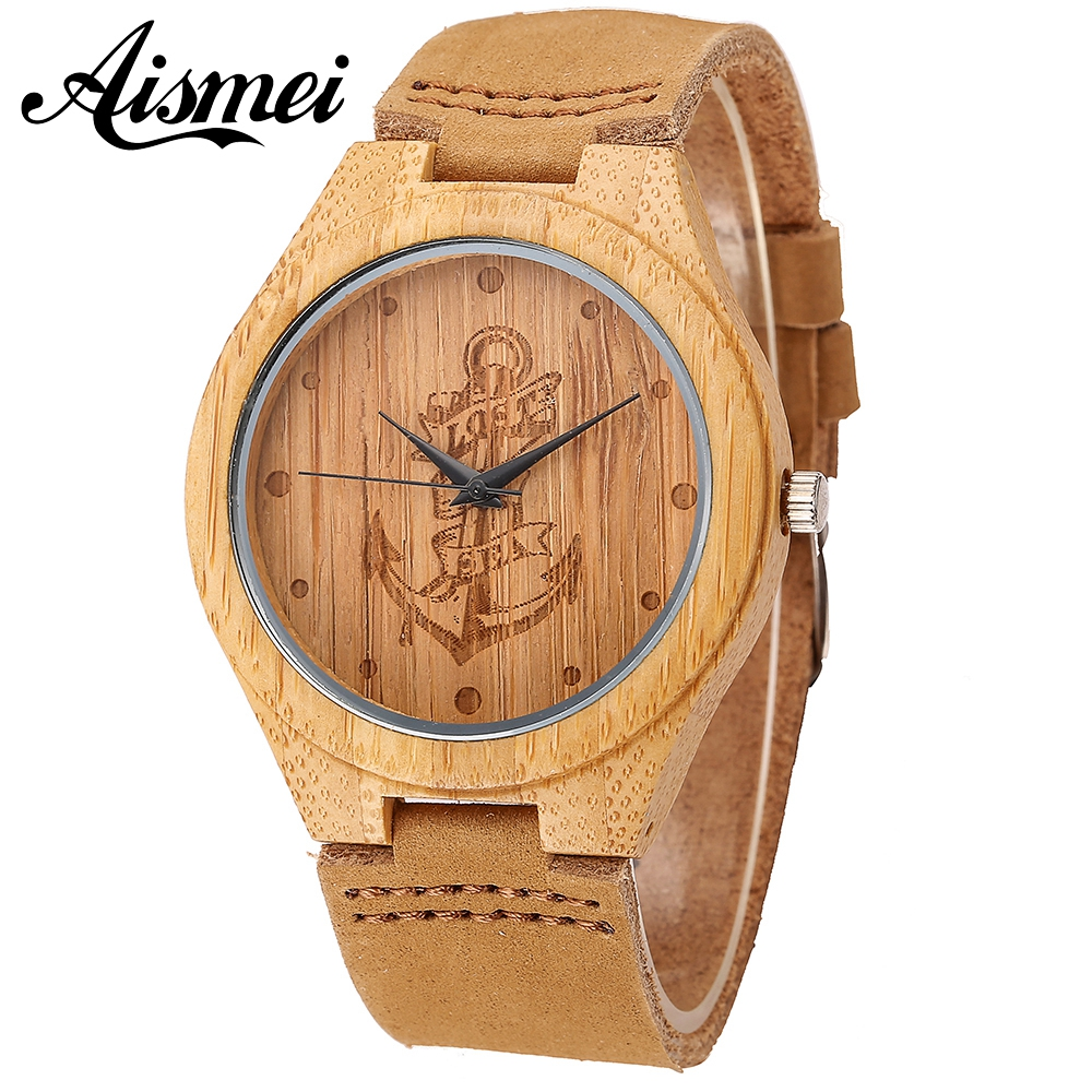 Lost At Sea Anchor Wood watch 2018 Hot Sell Men Women Fashion Wooden Watches with Genuine Leather Luxury Quartz WristWatch Gifts hot selling zebra wooden watches for men and womens lover fashion wristwatch with genuine leather straps