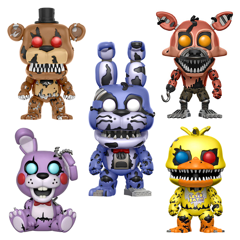 Five Nights At Freddy's Nightmare Freddy Chica Bonnie Foxy FNAF Toys 4PCS/Set PVC Action Figure Model Doll 5 Fazbear Bear Puppet