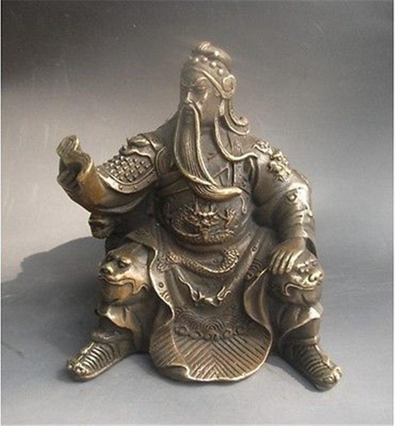 Chinese bronze Dragon Warrior Sit Guan Gong Yu God Reading Book StatueChinese bronze Dragon Warrior Sit Guan Gong Yu God Reading Book Statue