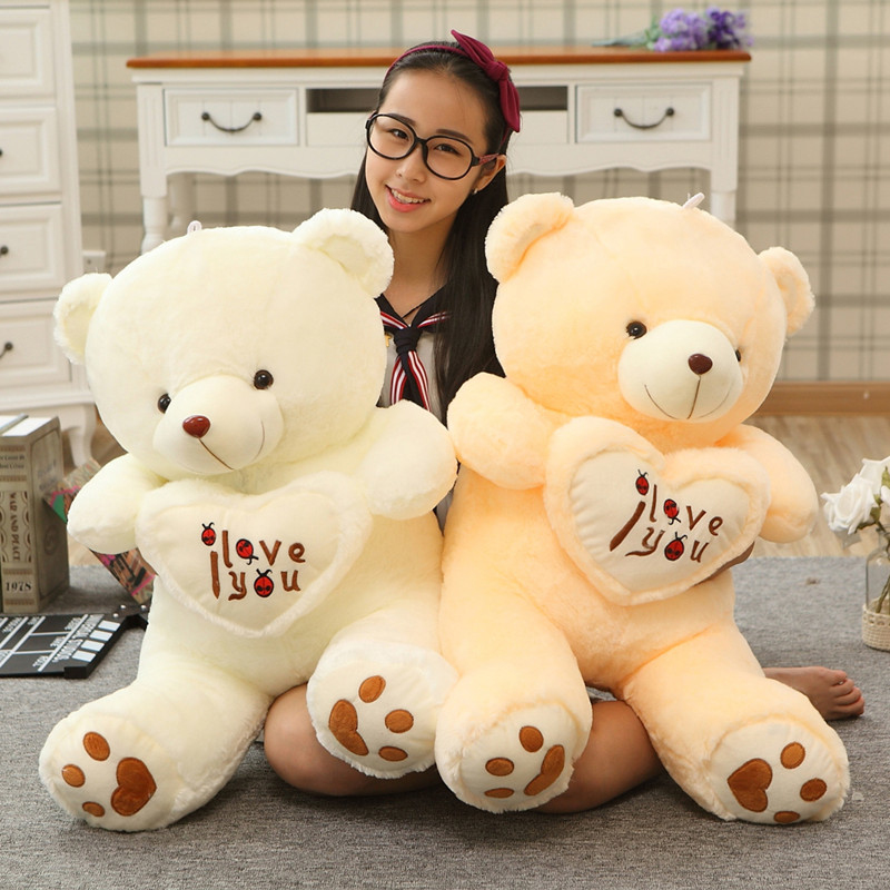 1pc Big I Love You Teddy Bear Large Stuffed Plush Toy Holding LOVE Heart Soft Gift for Valentine Day Birthday Girls' Brinquedos fancytrader new style teddt bear toy 51 130cm big giant stuffed plush cute teddy bear valentine s day gift 4 colors ft90548