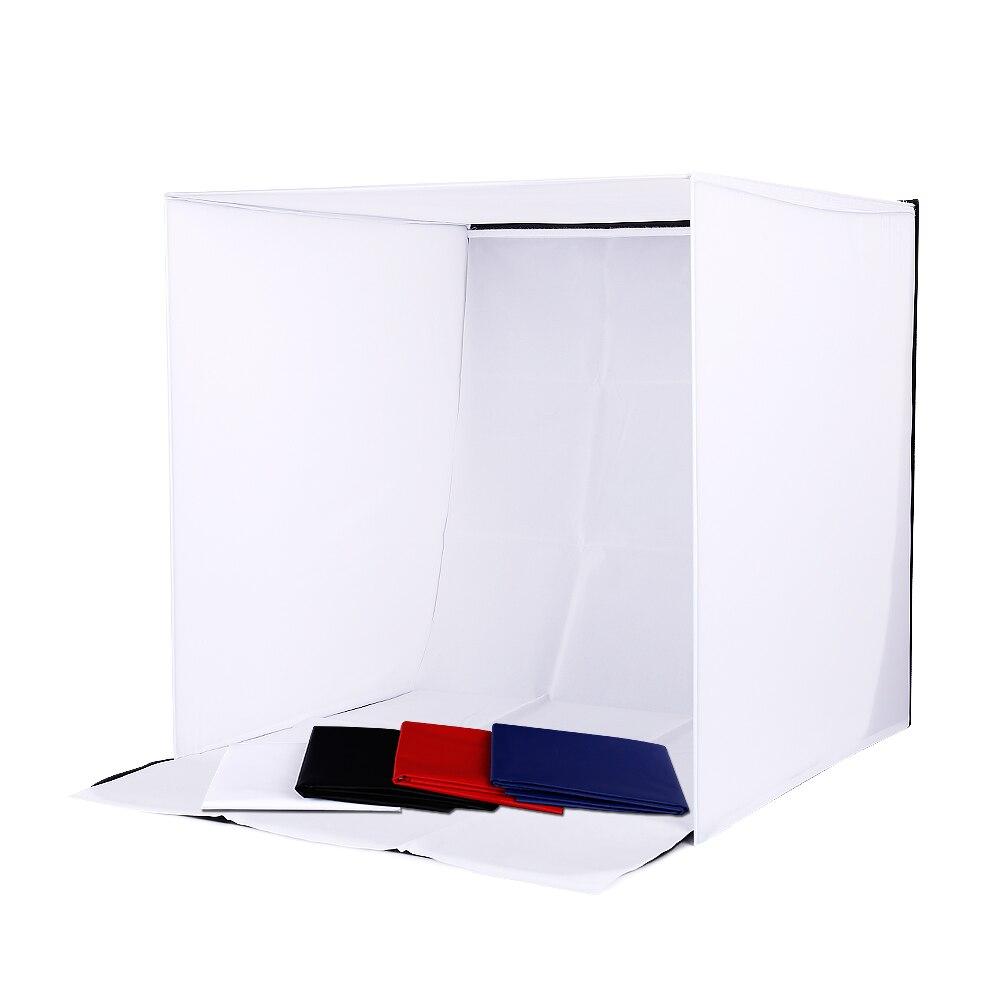 Profession Photo Studio boîte souple tir tente Softbox Cube boîte 60x60 cm photo lumière tente + portable sac + 4 décors lightbox